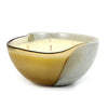MURANO GLASS: Sq Bowl four wicks candle Sand on Pearlized Clear Glass (16 Oz) Milano VANILLA Scent