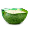 MURANO GLASS: Sq Bowl four wicks candle Green on Pearlized Clear Glass (16 Oz) Tuscan APPLE HARVEST Scent