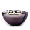 MURANO GLASS: Sq Bowl four wicks candle Purple on Pearlized Clear Glass (16 Oz) Venetian LAVENDER Scent