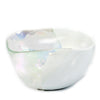 MURANO GLASS: Sq Bowl four wicks candle White on Pearlized Clear Glass (16 Oz) Capri GARDENIA Scent