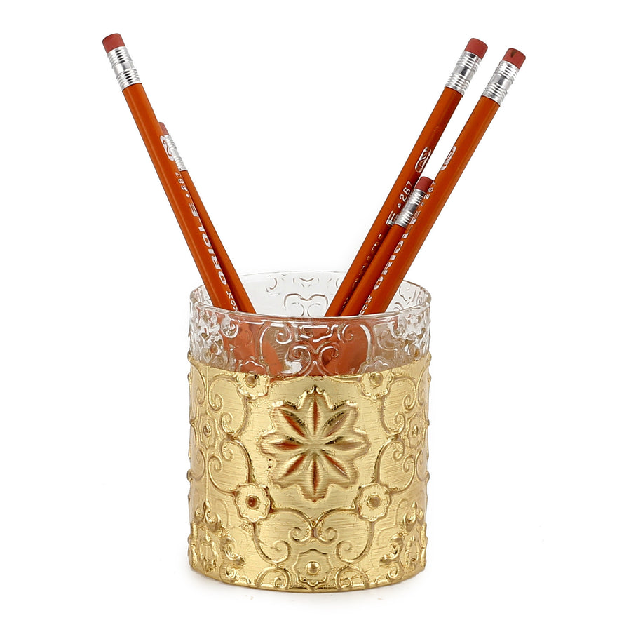 CRYSTAL CANDLE: Arabesque Design with Gold Leaf finish - (10 Oz)