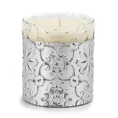 CRYSTAL CANDLE: Arabesque Design with Silver Leaf finish - (10 Oz)