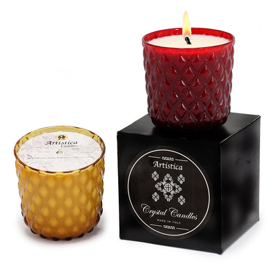 CRYSTAL CANDLES: Net Glass Design Candle ~ AMBER (10 Oz)