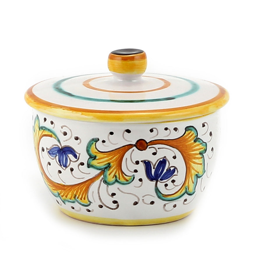 Jar Deruta Ceramic Candle with lid ~ Perugino Design