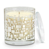 "CRYSTAL CANDLES: Egizia Argento Glass ""QUADROTTO"" Silver Design ~ Patchouli scent [10 Oz]"