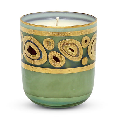 CRYSTAL CANDLES: Regalia Arabesque Design candle with 14 Carats Gold finish Aqua Green glass ~ (10 Oz)