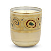 CRYSTAL CANDLES: Regalia Arabesque Design candle with 14 Carats Gold finish Cream glass  ~ (10 Oz)