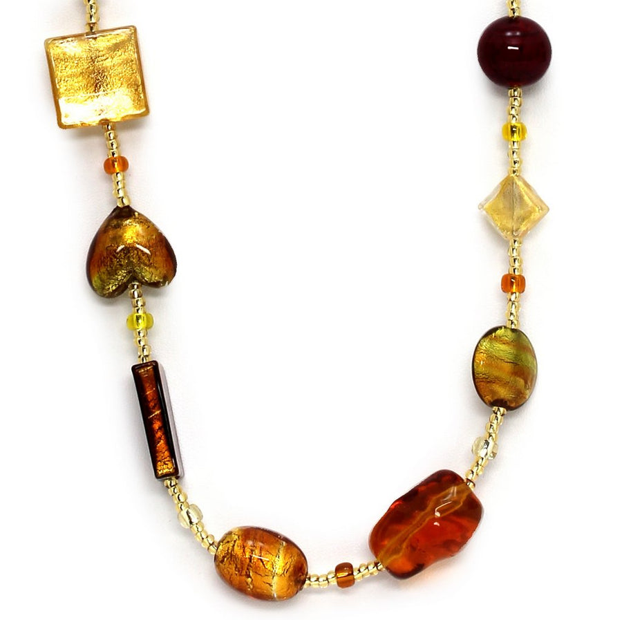 MURANO MURRINA: Hand Blown Murano Glass Necklace Archimede - AMBER