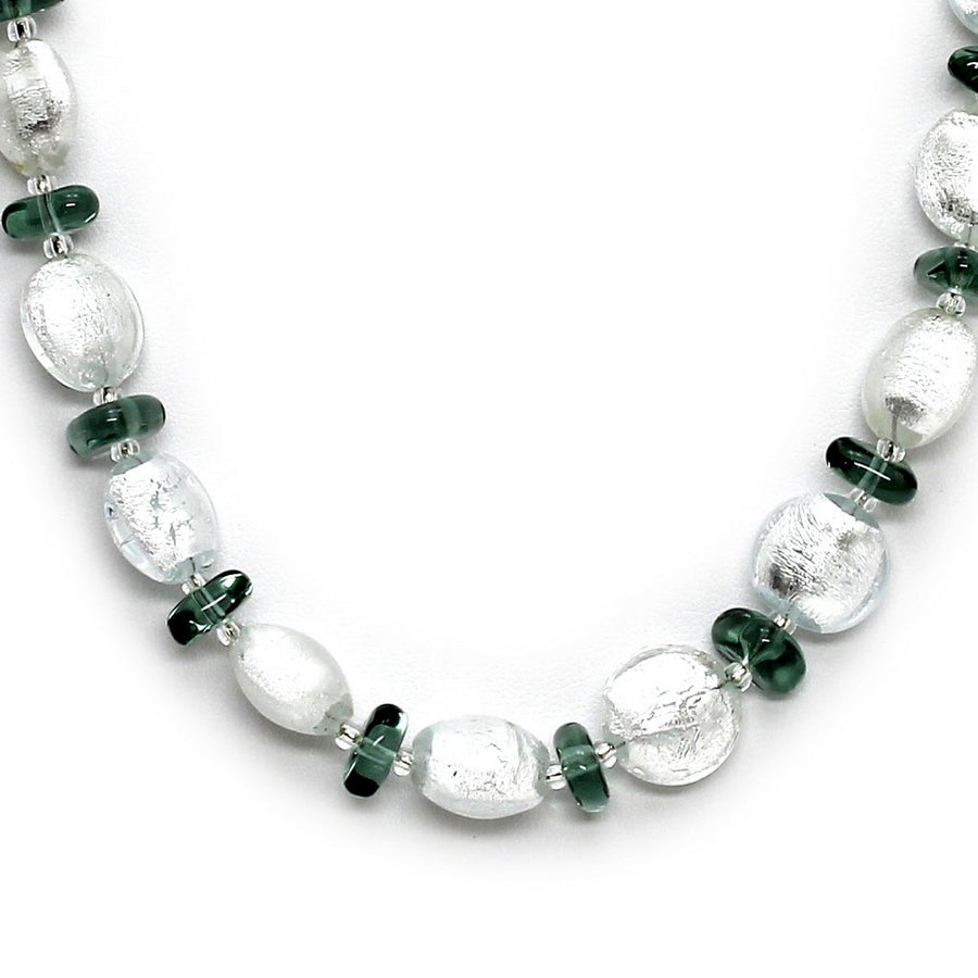 MURANO MURRINA: Hand Blown Murano Glass Necklace Clara - GREEN/CLEAR