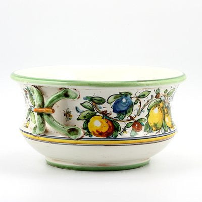 MAJOLICA LIMONI MONTELUPO: Round fruit bowl with two handles