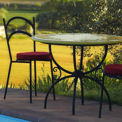 CERAMIC STONE TABLE + IRON BASE: CASCIA Design - Hand Painted *