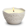 MONDIAL CANDLES: LEGADO - Round Jar Ceramic Candle with bass relief embossing design Peeple Sand Color