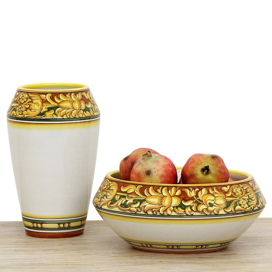 DERUTA BELLA: Fruit Bowl Centerpiece - Old Orange Design - (Premium Masterpiece by Francesca Niccacci)