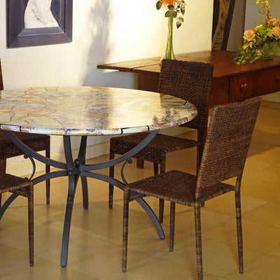 CERAMIC STONE TABLE + IRON BASE: DUBLINO Design - Hand Painted