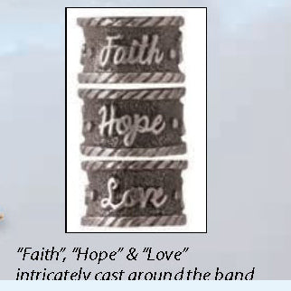ART-PEN: Handcrafted Luxury Twist Pen - Faith Hope Love - Antique Pewter with Acrylic White Marble body