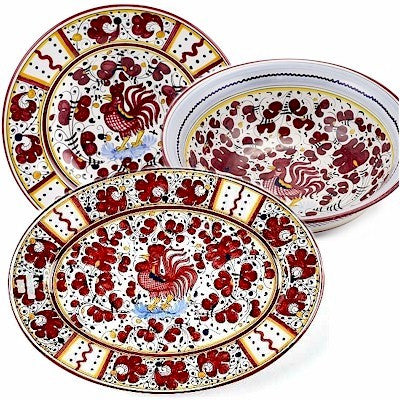 ORVIETO RED ROOSTER: Serving Set Charger and Salad Pasta Bowl and Oval Platter
