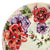 CERAMIC STONE TABLE + IRON BASE: FLOWER Design - Hand Painted *