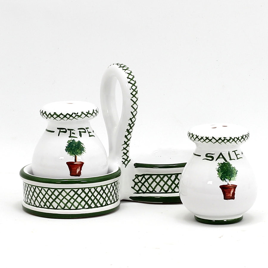 GIARDINO: Salt and Pepper cruet set with caddy [R]