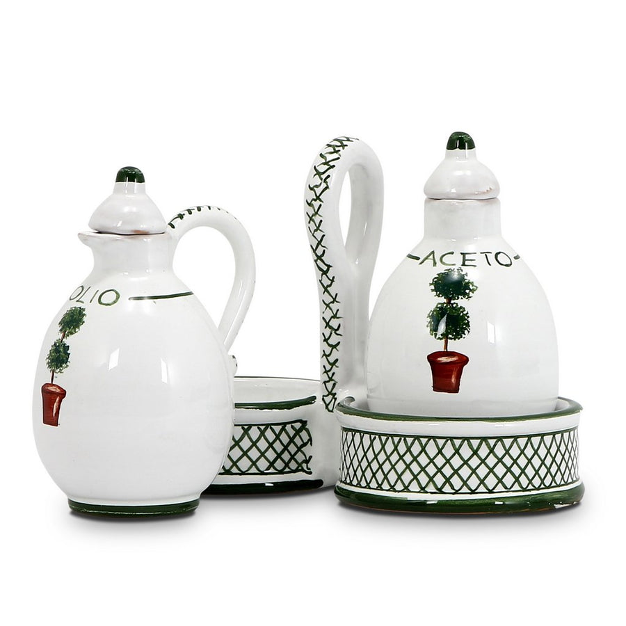 GIARDINO: Oil and Vinegar cruet set with caddy [R]