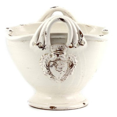 SCAVO AGATA WHITE: Squared deep bowl centerpiece with two handles and crests