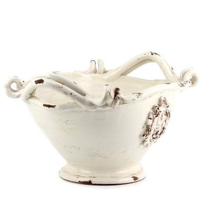 SCAVO AGATA WHITE: Oblong deep bowl centerpiece with two handles and crests
