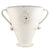 SCAVO AGATA WHITE: Oblong flatten vase with two handles and crests