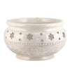 SCAVO STELLA BIANCO: Round Bowl Centerpiece with textured and carved star design