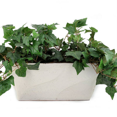 SCAVO BIANCO: Rectangular Jardiniere planter with wave design