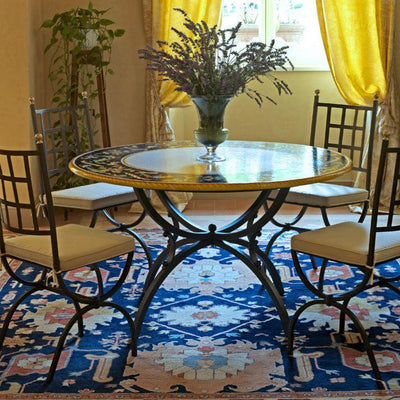 CERAMIC STONE TABLE + IRON BASE: IMPERIA Design - Hand Painted *