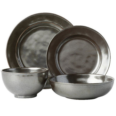 JULISKA: Pewter Stoneware 4pc Setting