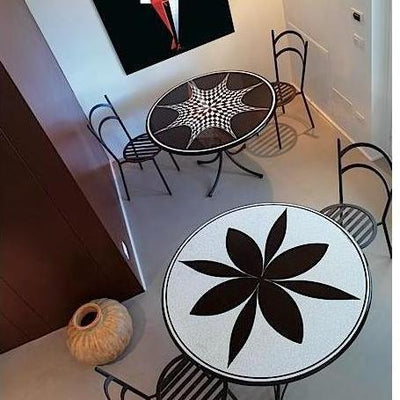 CERAMIC STONE TABLE + IRON BASE: KIEV Design - Hand Painted