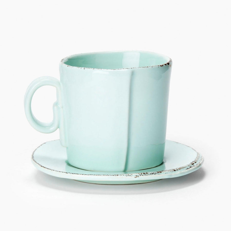 VIETRI: Lastra Aqua Espresso Cup and Saucer (Set of 4)