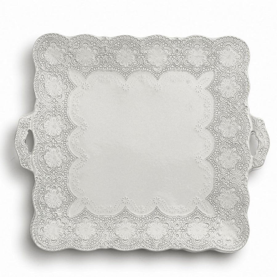 ARTE ITALICA: Merletto Antique Square Platter with Handles
