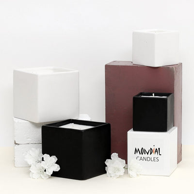 MONDIAL CANDLES: Urban Square Design Small Ceramic Candle Modern Matte White