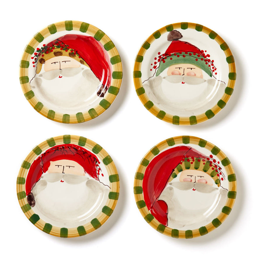 VIETRI: Old St Nick Assorted Round Salad Plates (Set of 4)