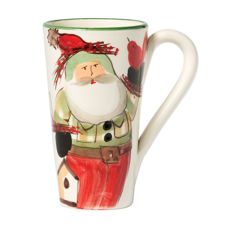 VIETRI: OLD ST. NICK LATTE MUG WITH BIRDS
