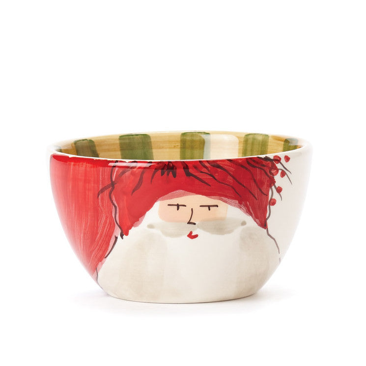 VIETRI: Old St Nick Cereal Bowl Red Hat