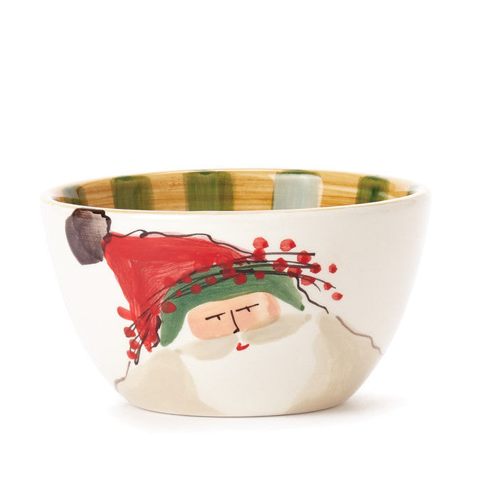 VIETRI: Old St Nick Cereal Bowl Green Hat