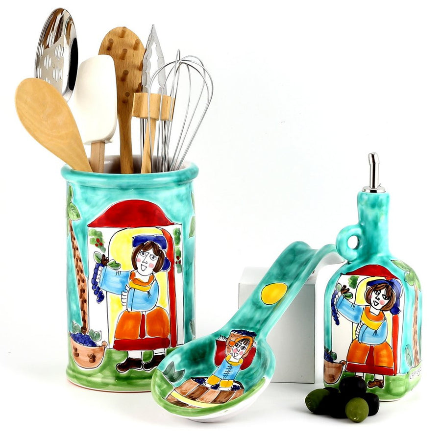 LA MUSA: Combo 3 Pcs Set Utensil Holder and Spoon Rest and Olive Oil Bottle Sicilian Grape Harvest