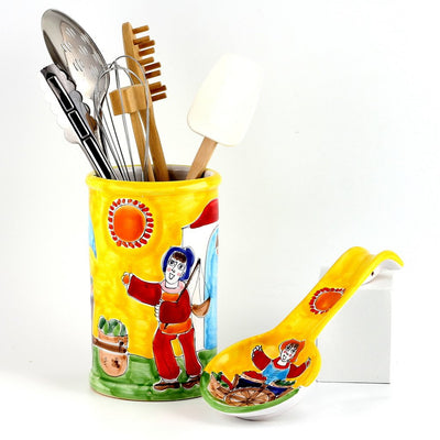 LA MUSA: Combo 2 Pcs Set Utensil Holder and Spoon Rest Mercato Sicilian Farmer Market
