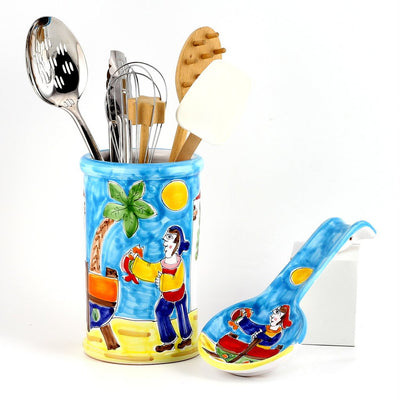 LA MUSA: Combo 2 Pcs Set Utensil Holder and Spoon Rest Porticciolo Harbor Fisherman Boat