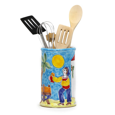 LA MUSA: Combo 3 Pcs Set Utensil Holder and Spoon Rest and Olive Oil Bottle Porticciolo Harbor Fisherman Boat