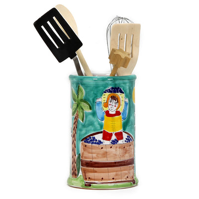 LA MUSA: Combo 2 Pcs Set Utensil Holder and Spoon Rest Sicilian Grape Harvest