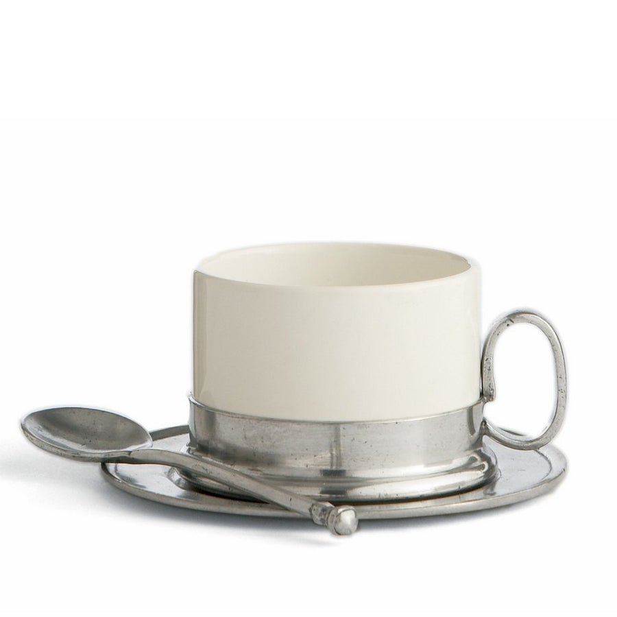 ARTE ITALICA: Tuscan Cappuccino Cup and Saucer with Spoon