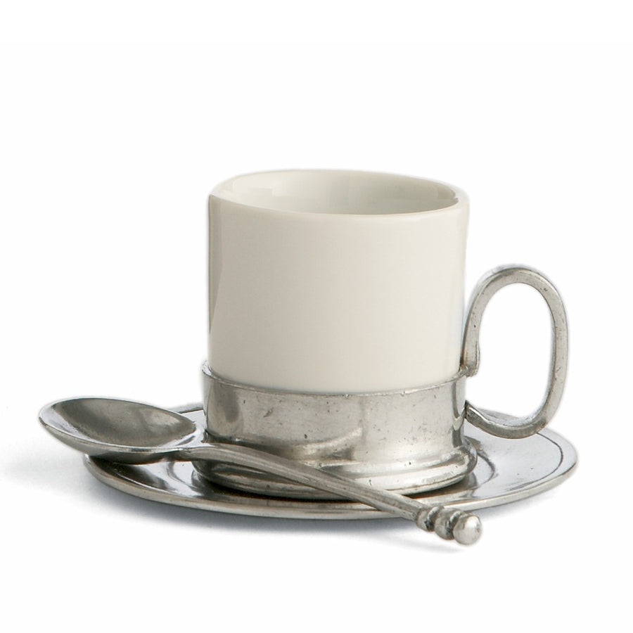 ARTE ITALICA: Tuscan Espresso Cup and Saucer with Spoon