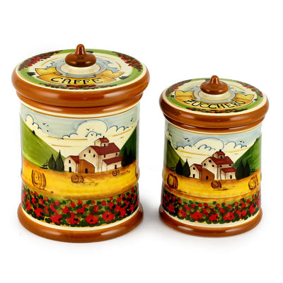 PAESAGGIO TOSCANA: Two Canisters set Caffe and Zucchero