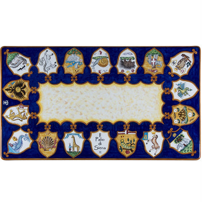 PALIO DI SIENA: Table + Iron Base Rectangular featuring all Palio's 17 Contrade