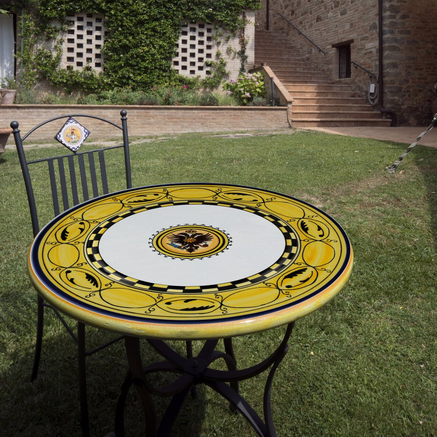 PALIO DI SIENA: Table + Iron Base AQUILA (EAGLE) Design
