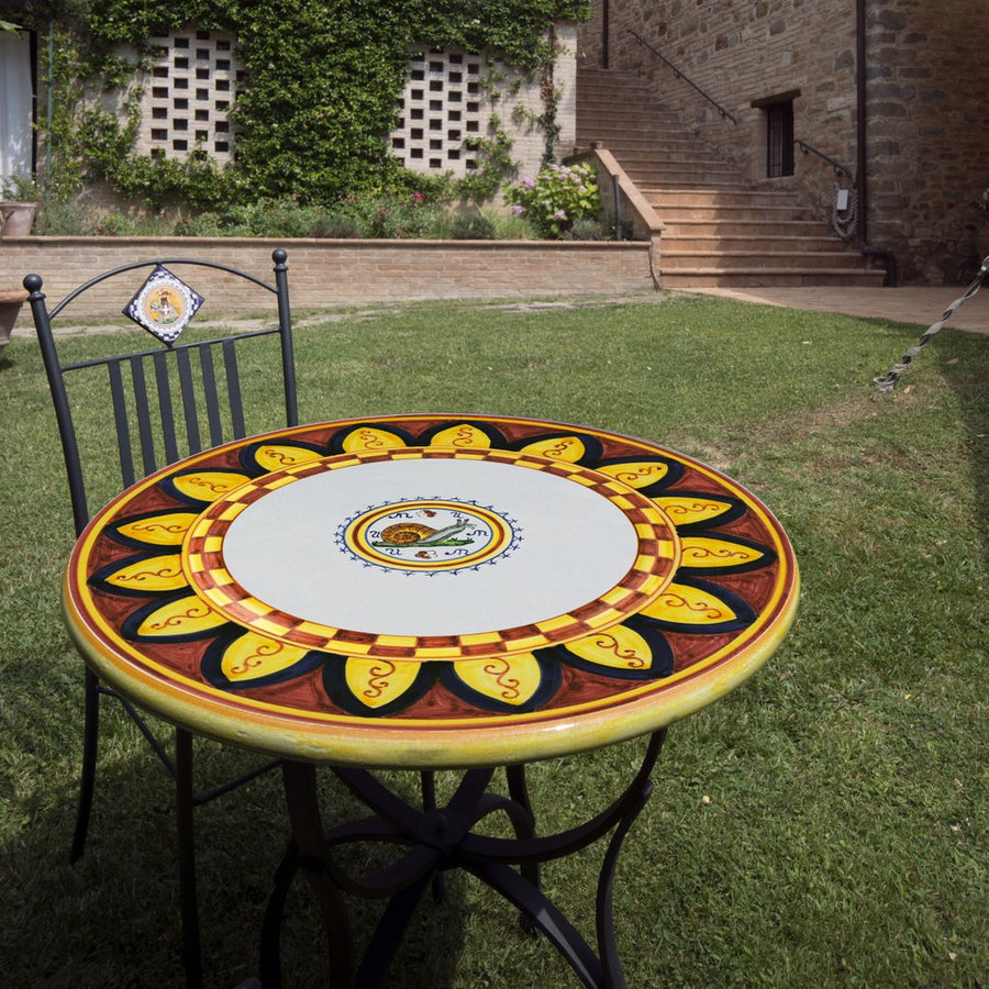 PALIO DI SIENA: Table + Iron Base CHIOCCIOLA (SNAIL) Design