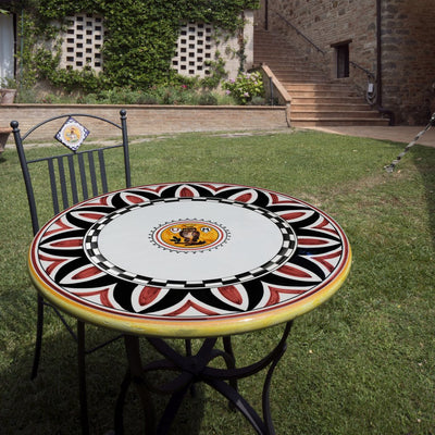 PALIO DI SIENA: Table + Iron Base CIVETTA (OWL) Design